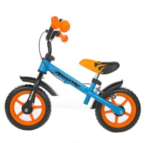 Laufrad -Kinderlaufrad - loopfiets Dragon met rem 10 Zoll Junior Blau/Orange